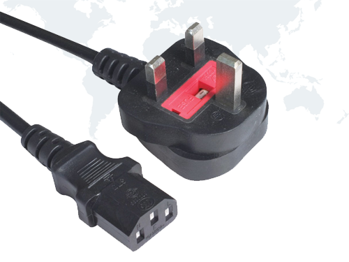 UK Computer Power Cords BSI Approval Plug end IEC C13
