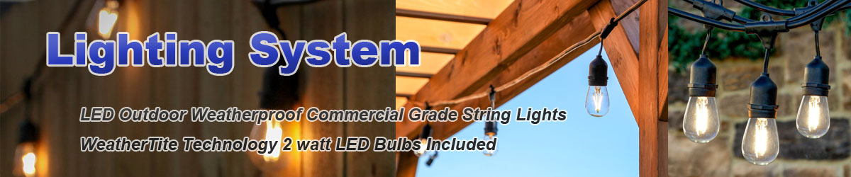 Lighting System,LED Outdoor Weatherproof Commercial Grade String Lights WeatherTite Technology - 2-watt LED Bulbs Included